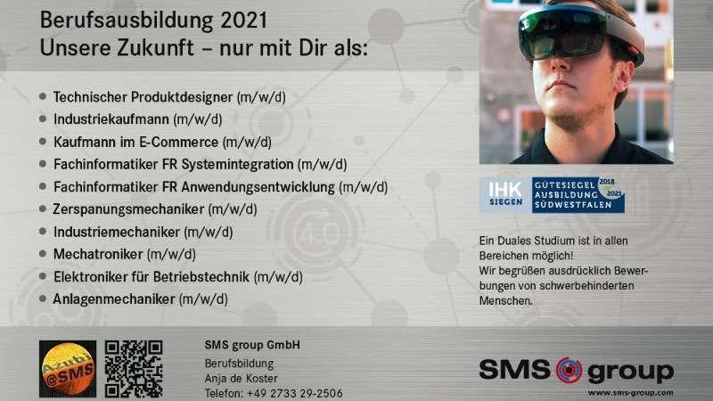 Wir suchen Dich – Ausbildung 2021 bei der SMS group
